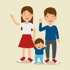 parents with son avatars characters vector illustration design