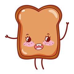 kawaii happy slice bread with arms and legs