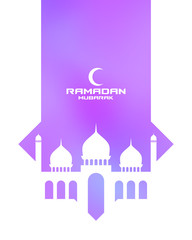 Ramadan Kareem. Greeting card  with mosque and moon. Cut paper. Eps10 vector