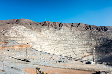 Drilling and Explosive Loading at Open Pit Copper Mine in Northern Chile