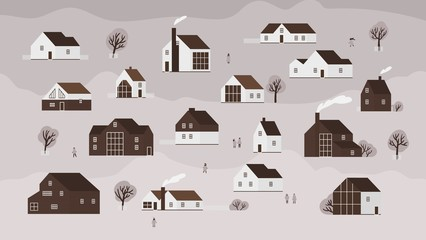 Fototapete - Banner with various country houses of modern Scandinavian architecture and walking people. Background with town buildings, suburb or village. Monochrome vector illustration in flat cartoon style.