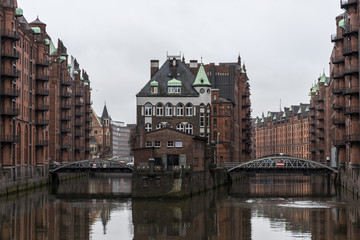 Hamburg, Germany. The Wasserschloss, a historical building in the Speicherstadt Warehouse District. A World Heritage Site since 2015