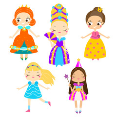Cute princess set. Girls in queen dresses. Vector collection of cartoon fairy tales characters