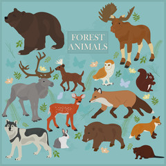 Set of forest animals on a blue background