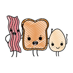 doodle kawaii happy bacon with slice bread and egg