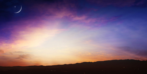 new moon .  Prayer time . Generous Ramadan .  Mubarak background . Glowing sunset . Glowing sunset . Sunset or sunrise with clouds