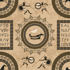 Seamless pattern with ancient greek letters, ships, horses, fighting people and ornament. Traditional ethnic background. Vintage vector illustration