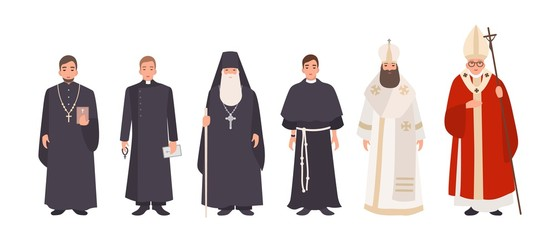 Collection of monks, priests and religious leaders of Catholic and Orthodox christian churches. Bundle of clergymen or male flat cartoon characters isolated on white background. Vector illustration. Fotomurales