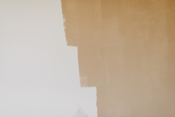 half painted beige color wall
