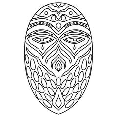 Tribal ethnik mask. Coloring illustration on white background
