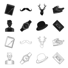 Hipster, fashion, style, subculture .Hipster style set collection icons in black,outline style vector symbol stock illustration web.