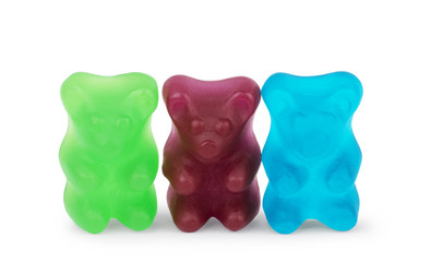 Jelly bears are multicolored on a white background