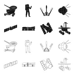 The space station in orbit, the preparation of the launch rocket, the lunar rover on the surface. Space technology set collection icons in black,outline style vector symbol stock illustration web.