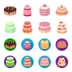 Sweetness, dessert, cream, treacle .Cakes country set collection icons in cartoon,flat style vector symbol stock illustration web.
