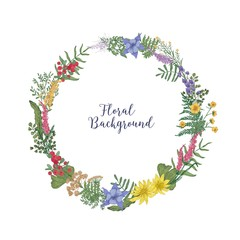 Beautiful hand drawn wreath or circular garland made of intertwined blooming meadow flowers and leaves. Decorative floral design element isolated on white background. Realistic vector illustration.