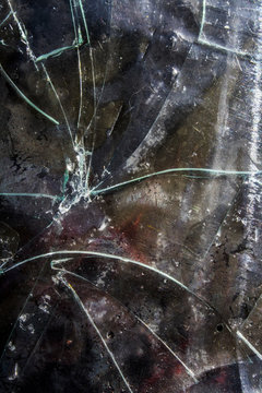Very Distressed Gothic Grunge Shattered Glass on Textured Abstract Background