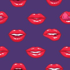 Seamless pattern with puffy female lips on purple background, symbol of love and passion. Backdrop with sexy mouths. Bright colored vector illustration for textile print, wallpaper, wrapping paper.