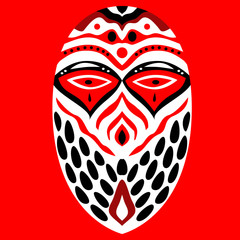 Tribal ethnik mask. Black and white and red illustration on red background