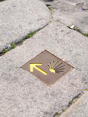 The sign on Saint James pilgrimage route to Santiago de Compostela