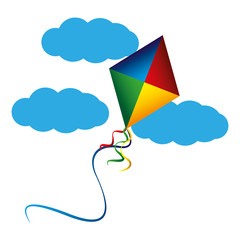 kite flying with clouds vector illustration design