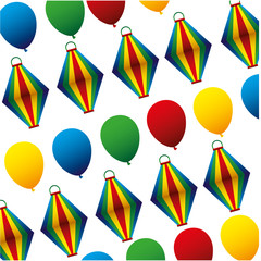 balloon air hot and party pattern vector illustration design