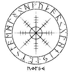 Helm of awe, helm of terror, Icelandic magical staves with scandinavian runes, Aegishjalmur vintage design