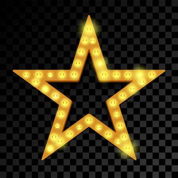 Star of lightbulb lamps neon vector signboard
