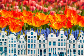 Souvenir canal houses with blooming orange tulips
