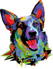 Dog German shepherd multicolored vector illustration on white background