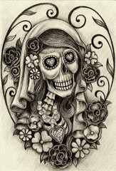 Art Women Skull Day of the dead. Hand pencil drawing on paper.
