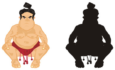 Sumo, wrestler, sportsman, sport, Japan, man, fat, evil, angry, sit, naked, cartoon, illustration, fight, two different