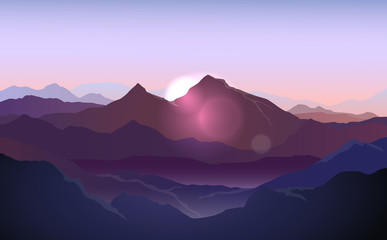 Foto op Plexiglas Purper Vector purple landscape with silhouettes of mountains with sunlight