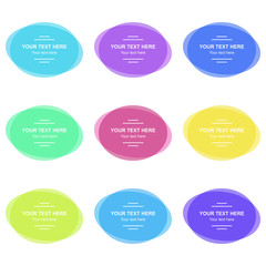 Set of colorful round banners. Abstract shapes for design. Banners with sample text.