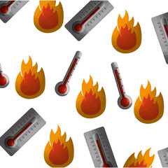 thermometers measure and flames pattern vector illustration design