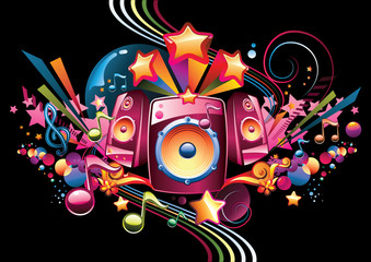 Music design - funky bright speakers, notes and stars