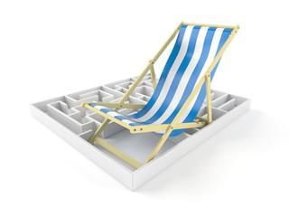 Deck chair inside maze