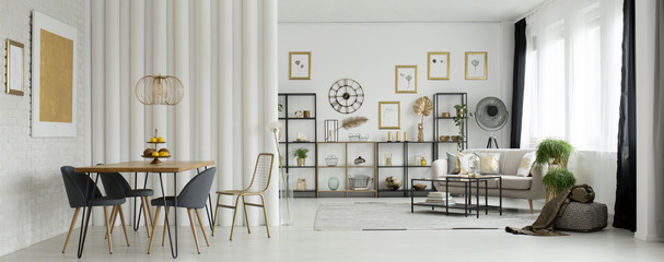 Gold in white living room