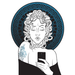 Medusa Gorgon selfie hand drawn line art and dot work pop print design isolated vector illustration.