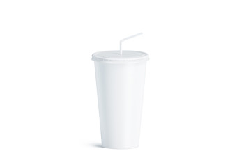 Blank white disposable cup with straw mock up isolated, 3d rendering. Empty paper soda drinking mug mockup with lid and tube front view. Clear soft drink cola take away plastic package
