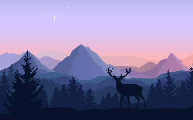 Foto op Plexiglas Purper Vector evening landscape with blue and purple silhouettes of mountains, forest and standing deer