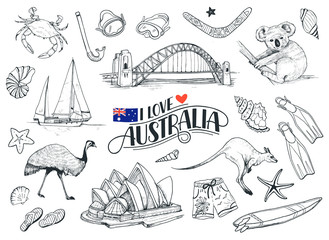 Set on hand drawn Australian symbols. Sketches of Australia opera, bridge, kangaroo etc isolated on white background. Vector illustration