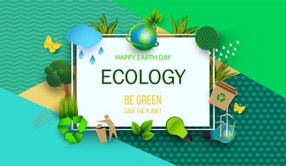 Design template Happy Earth Day with abstract leaves, flowers and clouds. Vector illustration. Colorful environmental elements of a thin square frame