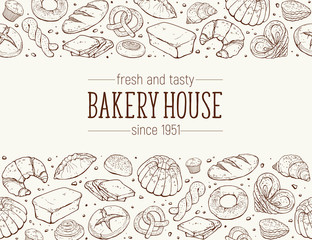 Bakery House. Horizontal border composition from hand drawn bread in sketch style. Vector illustration for bakery shops isolated. Fresh bread poster concept.