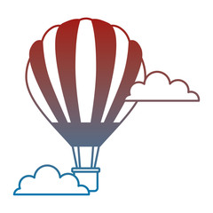 balloon air hot fliying with clouds vector illustration design