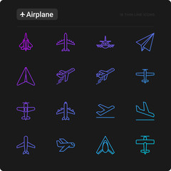 Airplane thin line icons set: agricultural aircraft, passenger's plane, military aviation, paper plane. Top, side, front views. Modern vector illustration for black theme.