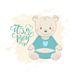 """Cute vector illustration with bear baby for baby wear and invitation card with phrase """"it's a boy""""."""