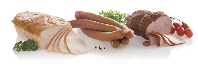 Sausage, ham and slices isolated on white background