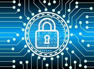 key lock and digital technology background