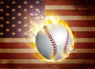 Baseball ball on flag