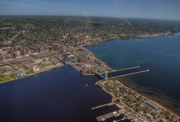 Duluth, Minnesota in Summer seen from Helicopter